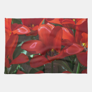 Red flowers kitchen towel