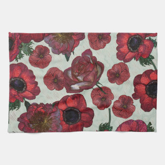 "Red flowers Kitchen Towel 16"" x 24"""
