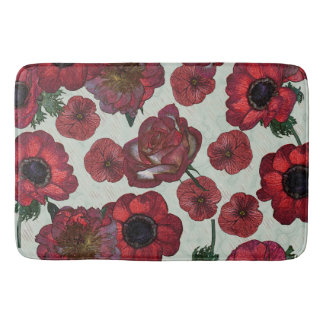 Red flowers Large Bath Mat