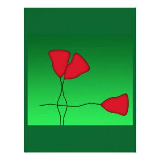 red flowers letterhead design