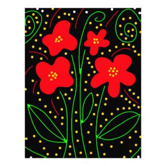 Red flowers letterhead template