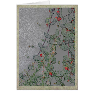 Red flowers on a vine in a summer garden card