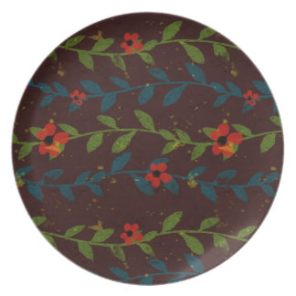 Red Flowers on Blue and Green Vines Dinner Plates