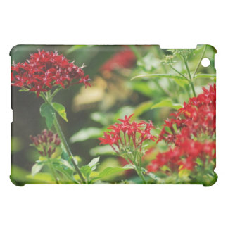 red flowers on green bush iPad mini covers