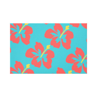 Red flowers on light blue background canvas print
