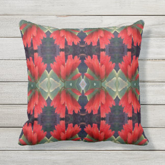 Red Flowers Pattern 2 Throw Pillow