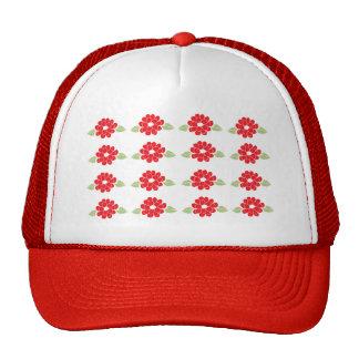 Red Flowers Pattern Trucker Hat