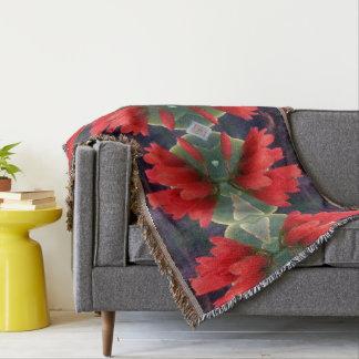 Red Flowers Pattern Throw Blanket