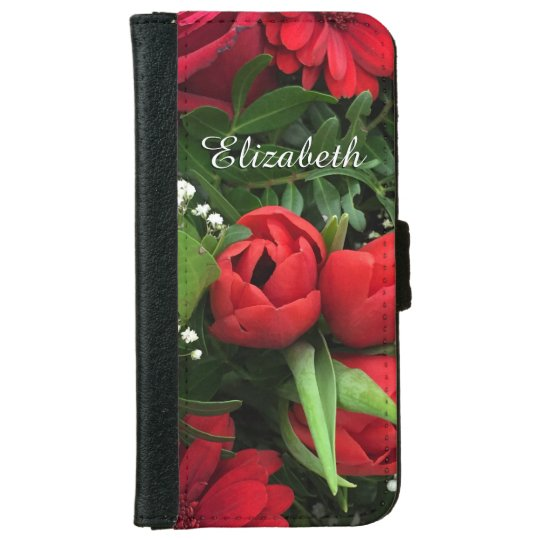 Red Flowers Personalized iPhone5/5s Wallet Case iPhone 6 Wallet Case