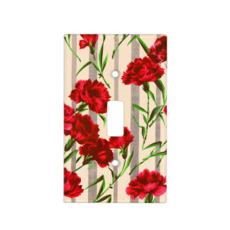 red flowers print light switch cover