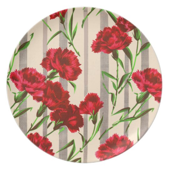 red flowers print plate