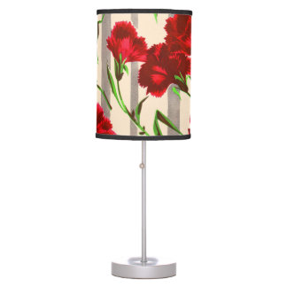 red flowers print table lamp