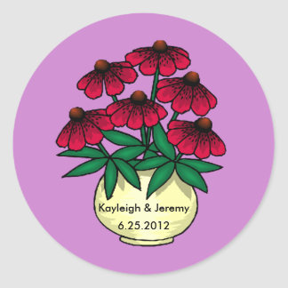 Red Flowers Purple Background Personalized Sticker