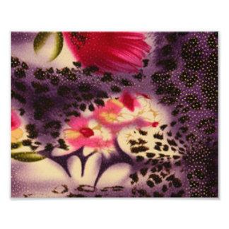 Red Flowers Purple Leopard Print Design