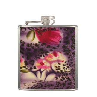 Red Flowers Purple Leopard Print Design Hip Flask