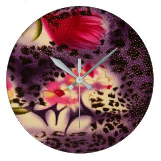 Red Flowers Purple Leopard Print Design Large Clock
