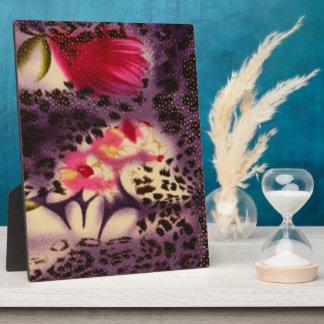 Red Flowers Purple Leopard Print Design Plaque