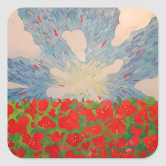 Red Flowers Square Sticker