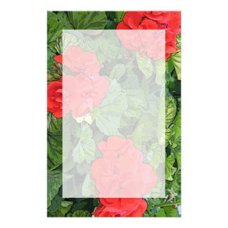 red flowers stationery design