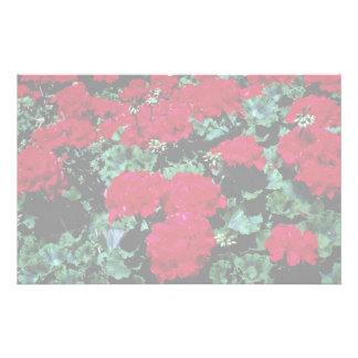 Red flowers personalized stationery
