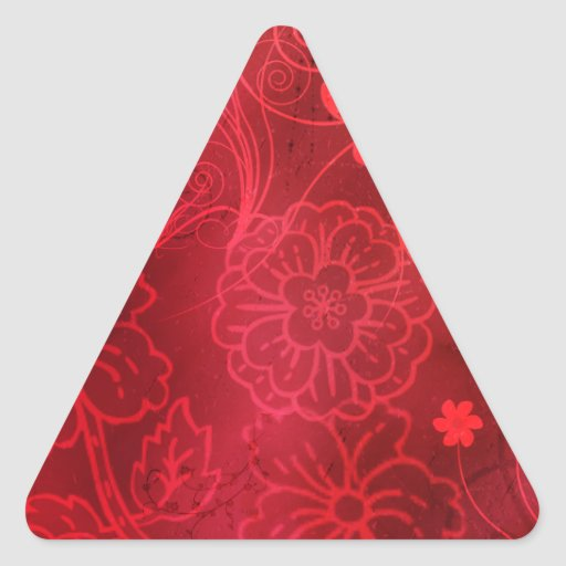 Red Flowers Triangle Stickers