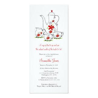 Red Flowers Tea Set Bridal Shower Invitations
