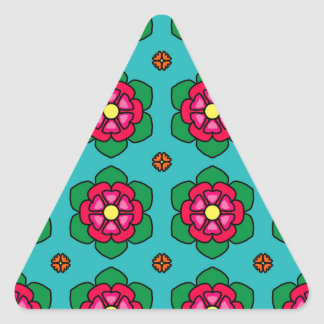 Red Flowers Triangle Sticker