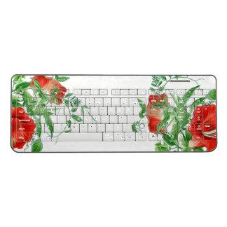 Red Flowers Vines Art Wireless Keyboard