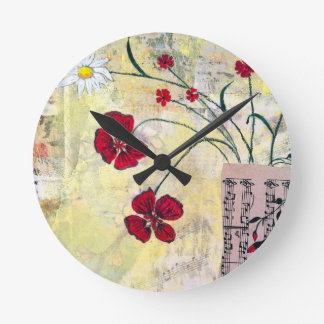 Red Flowers with Daisy Round Clock