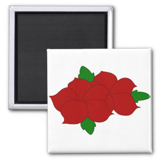 Red Flowers with Leaves Magnet