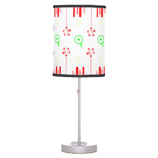 Red flowers with lines and circles table lamp