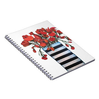 Red Flowers with Striped Vase Fine Art Notebooks