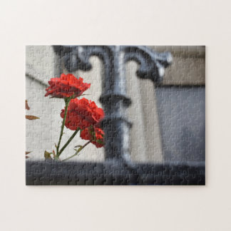 Red Flowers Wrought Iron New York City Photography Jigsaw Puzzle