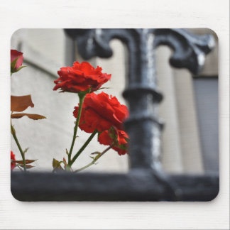 Red Flowers Wrought Iron New York City Photography Mouse Pad