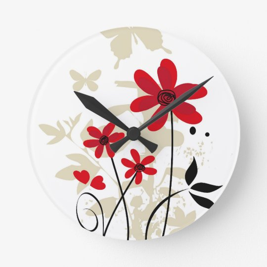 Red flowes and butterflies clock