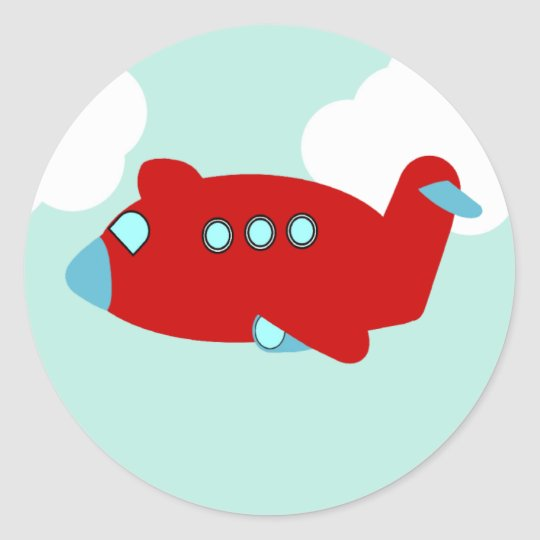 Red Flying Airplane round sticker
