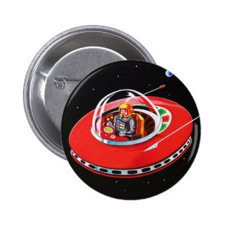 RED FLYING SAUCER 2 INCH ROUND BUTTON