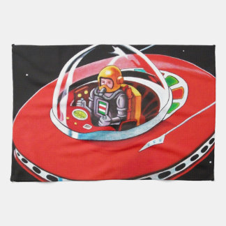 RED FLYING SAUCER HAND TOWELS