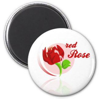 Red foes flower 2 inch round magnet