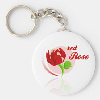 Red foes flower basic round button keychain