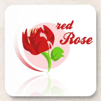 Red foes flower beverage coasters