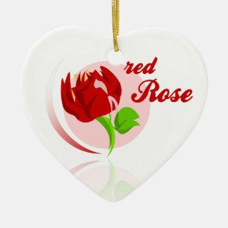 Red foes flower ceramic ornament