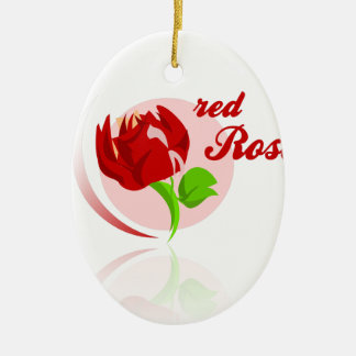Red foes flower ceramic oval ornament