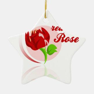 Red foes flower ceramic star ornament