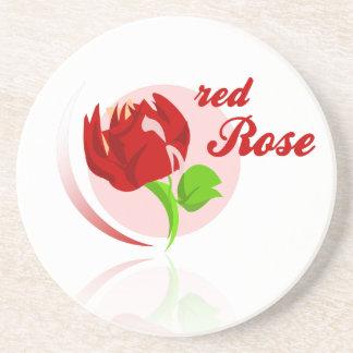 Red foes flower drink coaster