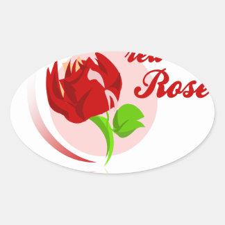 Red foes flower oval sticker