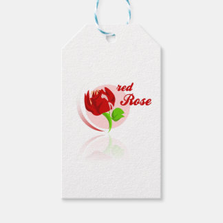 Red foes flower pack of gift tags