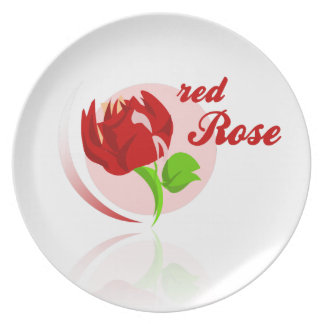 Red foes flower party plates