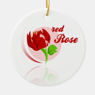Red foes flower round ceramic ornament