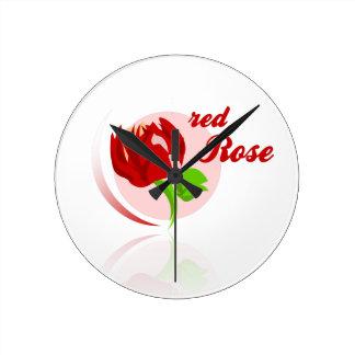 Red foes flower round clock